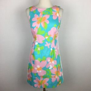 Lilly Pulitzer Blue & Pink Floral Sleeveless Dress